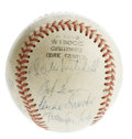 Autographs:Baseballs, 1949 Cleveland Indians Team Signed Baseball. Hall of Fame managerLou Boudreau held the fort over the 1949 Cleveland Indian...
