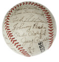 Autographs:Baseballs, 1952 Detroit Tigers Team Signed Baseball. Detroit Tigers souvenirbaseball has been signed by twenty-nine members of the '5...