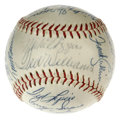 Autographs:Baseballs, 1957 Boston Red Sox Team Signed Baseball. Joining manager PinkyHiggins on the sweet spot of the provided OAL (Harridge) ba...