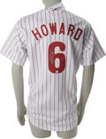 Autographs:Jerseys, Ryan Howard Signed Jersey. Majestic home white PhiladelphiaPhillies Ryan Howard jersey with pinstripes has been graciously...