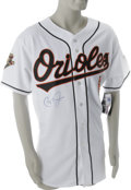 Autographs:Jerseys, Cal Ripken, Jr. Signed Jersey. This Majestic Authentic CollectionBaltimore Orioles jersey is styled after the home whites ...