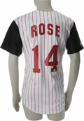 "Autographs:Jerseys, Pete Rose Signed Jersey. Great home replica Cincinnati Reds homepinstripe jersey has been detailed with red twill ""Rose"" a..."