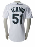 Autographs:Jerseys, Ichiro Suzuki Signed Jersey. Beautiful Russell Athletic jersey hasbeen styled after the white home jerseys worn by the Sea...