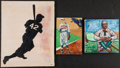 Baseball Collectibles:Others, Negro League Original Painting Lot Of 3. ...