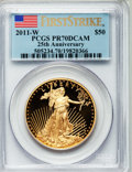 Modern Bullion Coins, 2011-W G$50 One-Ounce Gold Eagle, 25th Anniversary, First StrikePR70 Deep Cameo PCGS. PCGS Population (167). NGC Census: (...