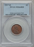 Lincoln Cents, 1917-D 1C MS64 Red PCGS....