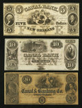 Obsoletes By State:Louisiana, New Orleans, LA- New Orleans Canal & Banking Company $5, $10, $20 18__ Remainders G12a, G24a, G32. ... (Total: 3 notes)