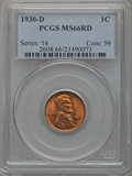 Lincoln Cents: , 1930-D 1C MS66 Red PCGS. PCGS Population (110/8). NGC Census:(124/7). Mintage: 40,100,000. Numismedia Wsl. Price for probl...