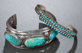 American Indian Art:Jewelry and Silverwork, TWO SOUTHWEST SILVER AND TURQUOISE BRACELETS... (Total: 2 )