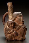 Pre-Columbian:Ceramics, A MOCHE STIRRUP SPOUT VESSEL WITH MOTHER AND CHILD. c. 500 - 900AD...