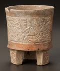 Pre-Columbian:Ceramics, A TEOTIHUACAN TRIPOD VESSEL WITH MOLDED IMAGES. c. 500 - 700 AD...