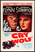 "Movie Posters:Mystery, Cry Wolf (Warner Brothers, 1947). One Sheet (27"" X 41""). Mystery....."