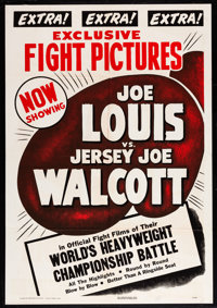 "Joe Louis vs. Jersey Joe Walcott (RKO, 1947). One Sheet (28"" X 41""). Sports"