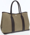 Luxury Accessories:Bags, Hermes Buffalo Havana Leather & Olive Canvas Garden Party MMTote Bag. ...
