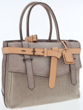 Luxury Accessories:Bags, Reed Krakoff Gray Leather & Natural Woven Canvas Boxer Tote Bag. ...