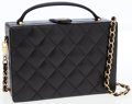 Luxury Accessories:Bags, Chanel Black Quilted Lambskin Leather Box Bag with Gold ChainShoulder Strap . ...