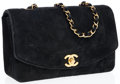 Luxury Accessories:Bags, Chanel Black Quilted Suede Flap Bag with Gold Hardware. ...