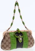 Luxury Accessories:Bags, Gucci Green & Black Crocodile Web Stripe with GG MonogramCanvas Evening Bag. ...