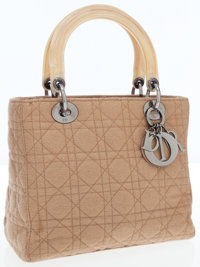 Christian Dior Beige Microfiber Cannage Lady D Bag with Bone Handles