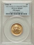 Modern Issues, 1988-W G$5 Olympic Gold Five Dollar MS69 PCGS. Ex: US VaultCollection. PCGS Population (2758/239). NGC Census: (1094/1185)...