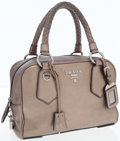 Luxury Accessories:Bags, Prada Metallic Silver Leather Medium Tote Bag with Clochette. ...