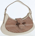 Luxury Accessories:Bags, Tod's Brown Zebra Ponyhair & White Leather Shoulder Bag . ...