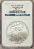 Modern Bullion Coins, 2007-W $1 Silver Eagle Early Releases MS69 NGC. NGC Census:(56488/14078). PCGS Population (24656/3688)....