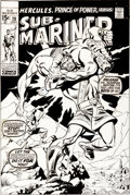 Original Comic Art:Covers, Sal Buscema and Frank Giacoia Sub-Mariner #29 Hercules CoverOriginal Art (Marvel, 1970)....