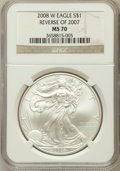 Modern Bullion Coins, 2008-W $1 Silver Eagle, Reverse of 2007 MS70 NGC. NGC Census:(4279). PCGS Population (234). Numismedia Wsl. Price for pro...