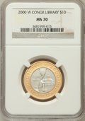 Modern Issues: , 2000-W $10 Library of Congress Bimetallic Ten Dollars MS70 NGC. NGCCensus: (839). PCGS Population (403). Numismedia Wsl. ...