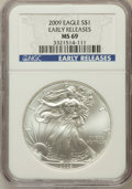 Modern Bullion Coins, 2009 $1 Silver Eagle Early Releases MS69 NGC. PCGS Population(111070/19515)....