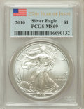 Modern Bullion Coins, 2010 $1 Silver Eagle 25th Years of Issue MS69 PCGS. PCGS Population(8375/45870). NGC Census: (44813/4503). Numismedia Wsl...