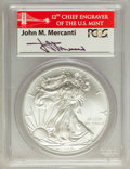 2012(-S) $1 Silver Eagle, Stuck at San Francisco First Strike MS69 PCGS. Ex: Signature of John M. Mercanti, 12th Chief E...