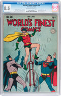 Golden Age (1938-1955):Superhero, World's Finest Comics #26 (DC, 1947) CGC VF+ 8.5 Off-white to white pages....
