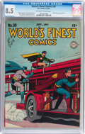 Golden Age (1938-1955):Superhero, World's Finest Comics #30 (DC, 1947) CGC VF+ 8.5 Off-white to white pages....
