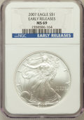 Modern Bullion Coins, 2007 $1 Silver Eagle Early Releases MS69 NGC. NGC Census:(110831/5183). PCGS Population (3027/603). Numismedia Wsl. Price...