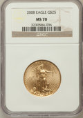Modern Bullion Coins, 2008 $25 Gold Eagle 1/2 Oz MS70 NGC. NGC Census: (1724). PCGSPopulation (0)....