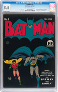Golden Age (1938-1955):Superhero, Batman #3 (DC, 1940) CGC VF+ 8.5 Off-white to white pages....