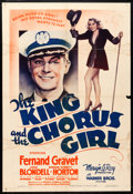 "Movie Posters:Comedy, The King and the Chorus Girl (Warner Brothers, 1937). One Sheet(27"" X 41""). Comedy.. ..."