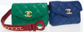 Luxury Accessories:Bags, Chanel Green, Red & Blue Lambskin Leather Flap Bag Belt with Gold Hardware. ... (Total: 2 Items)