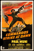 "Movie Posters:War, Commandos Strike at Dawn (Columbia, 1942). One Sheet (27"" X 41"")Style B. War.. ..."