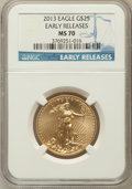 Modern Bullion Coins, 2013 $25 Half-Ounce Gold Eagle, Early Rleases MS70 NGC. NGC Census:(0). PCGS Population (726)....