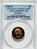 Modern Issues, 1988-W G$5 Olympic Gold Five Dollar PR69 Deep Cameo PCGS. Ex: USVault Collection. PCGS Population (8548/437). NGC Census: ...