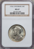 Commemorative Silver: , 1936 50C Lynchburg MS67 NGC. NGC Census: (93/3). PCGS Population(73/0). Mintage: 20,013. Numismedia Wsl. Price for problem...