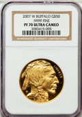 Modern Bullion Coins, 2007-W $50 Gold Buffalo PR70 Ultra Cameo NGC. .9999 Fine. NGCCensus: (3202). PCGS Population (699). Numismedia Wsl. Price...