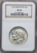 Commemorative Silver: , 1936 50C Bridgeport MS66 NGC. NGC Census: (368/25). PCGS Population(668/64). Mintage: 25,015. Numismedia Wsl. Price for pr...