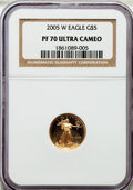 Modern Bullion Coins, 2005-W G$5 Tenth-Ounce Gold Eagle PR70 Ultra Cameo NGC. NGC Census:(1645). PCGS Population (312). Numismedia Wsl. Price f...