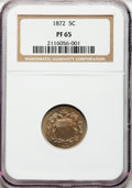 Proof Shield Nickels: , 1872 5C PR65 NGC. NGC Census: (108/52). PCGS Population (108/46).Mintage: 950. Numismedia Wsl. Price for problem free NGC/...
