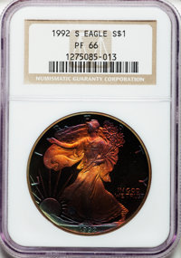 1992-S $1 Silver Eagle PR66 NGC. NGC Census: (16/13605). PCGS Population (24/7150). Mintage: 498,654. Numismedia Wsl. Pr...