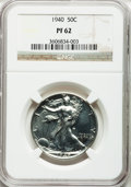 Proof Walking Liberty Half Dollars: , 1940 50C PR62 NGC. NGC Census: (28/2175). PCGS Population(46/3050). Mintage: 11,279. Numismedia Wsl. Price for problemfre...